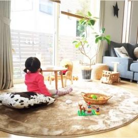 Детский бежевый ковёр с ворсом круглый JumKids Sand Beige